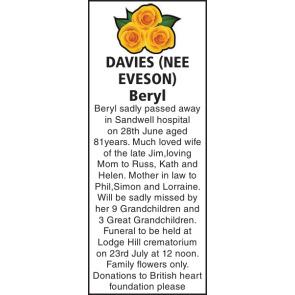 Funeral Notices - DAVIES Beryl