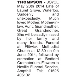 Funeral Notices - JOYCE MAY Thompson