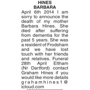 Funeral Notices - BARBARA APRIL HINES