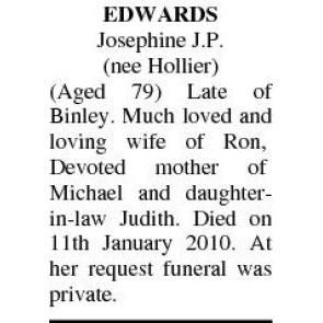 Funeral Notices - JOSEPHINE EDWARDS
