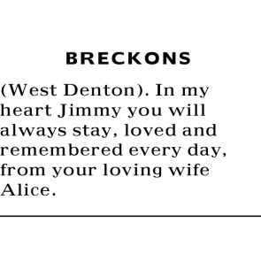 Tribute photo for WEST DENTON BRECKONS