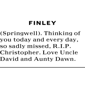 Tribute photo for FINLEY